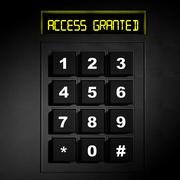 """Security black numeric dial with """"Access Granted"""" screen - stock illustration"""