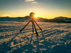 Shooting mountin landscape - stock photo