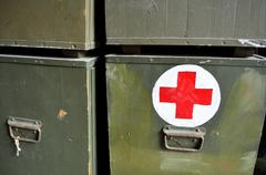 Old army medic trunk Stock Photos