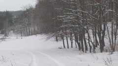 Winter road on the edge of the forest Stock Footage