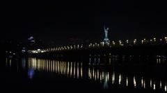 Kiev, Paton bridge night view Stock Footage