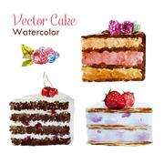 Tasty cakes - stock illustration