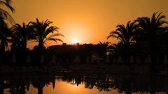Orange Sunset With Palm Trees and Sun Reflection on Water - stock photo