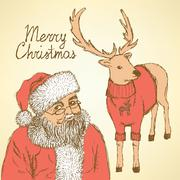 Sketch Christmas set in vintage style Stock Illustration