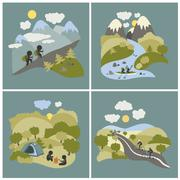 Set of outdoor leisure pictures Stock Illustration