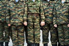 Soldiers of the Russian army in uniform Stock Photos