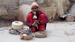 Snake Charmer in Varanasi, Uttar Pradesh, India Stock Footage