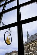 Aachen: view of Tower Hall through the window - stock photo