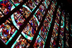Stained glass in Aachen cathedral Stock Photos