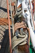 Detail of rigging of old sail ship - stock photo