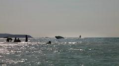 Ski Boat Powerboat Sport Water Waterskiing Nature Sun Sky Breeze Stock Footage