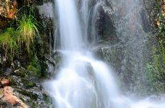 small beautiful fresh water mountainn creek waterfall in summer - stock photo