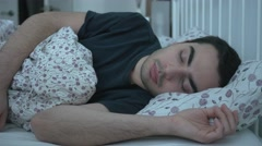 4K Sleeping Young Man Bed Snoring Stock Footage