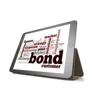 Bond word cloud cloud on tablet - stock illustration