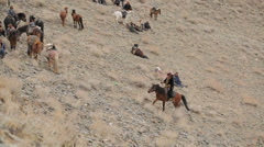 Rider on horseback up the hill Stock Footage