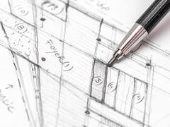 Architect Hand Drawing House Plan Sketch - stock photo
