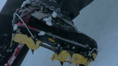 ice climbing detail crampons rack focus - stock footage