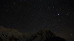 Mountain tops in winter, night time lapse 4K, Carpathian Mountains, Romania Stock Footage