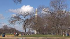 Tourist people enjoy National Mall park Obelisk Monument Washington DC emblem US Stock Footage