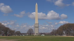 Tourist people enjoy Obelisk Monument Washington DC landmark sunny day icon USA  Stock Footage