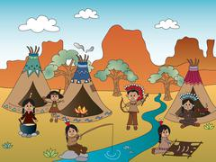 american indian village - stock illustration