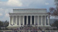 Closeup Lincoln Memorial Monument building Washington DC landmark people enjoy   Stock Footage