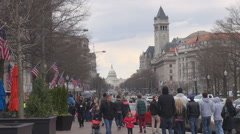 Busy pedestrian people commute crowd sidewalk Capitol Building Washington DC USA Stock Footage