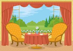Stock Illustration of Room with view of forest glade