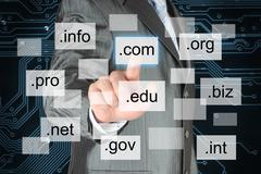 Man pushing virtual domain name Stock Illustration