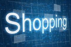 Shopping word on digital background - stock illustration