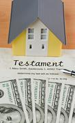 dollar currency notes and english testament - stock photo
