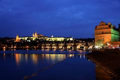 prague, charles bridge and prague castle hradcany at na - stock photo