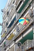Social housing balconies - stock photo