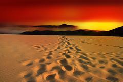 Desert sundown mountain view - stock photo