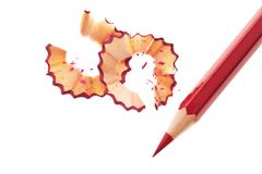 red pencil. save on expenses - stock photo