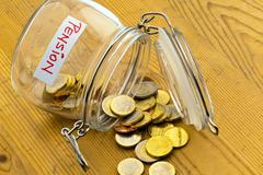 Jar with coins. inscription retirement / pension Kuvituskuvat