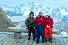 Family in Alp mountain (Austria) - stock photo