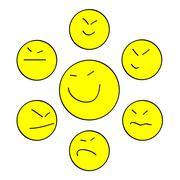 Yellow Asian smiles - stock illustration