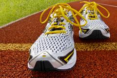 Sports shoes tartan Stock Photos