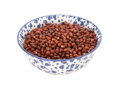 Adzuki beans in a blue and white china bowl - stock photo