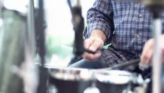 Jazz musician playing the drums. slow motion Stock Footage