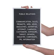 Stock Photo of Public relations concept in plastic letters on very old menu board