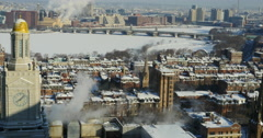 Boston Charles River in Winter Stock Footage