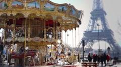 Eiffel tower Slow motion carousel, Paris - 1080p Stock Footage