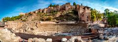 Panoramic view of Roman Theatre in Malaga. Andalusia, Spain Stock Photos
