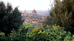 Aerial View of Florence, Italy, Florence Cathedral, slider - stock footage