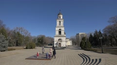 Happy kids at the Orthodox Church, Chișinău, Moldova Stock Footage