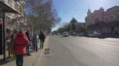 Ștefan cel Mare Boulevard in Chișinău, Moldova Stock Footage