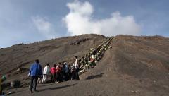 Tourists at Gunung Bromo, Java, Indonesia Stock Footage