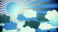 Abstract sunburst in blue with clouds - stock footage